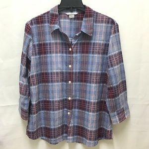 Allison Daly 3/4 Sleeve Blue Plaid Button Down, 14